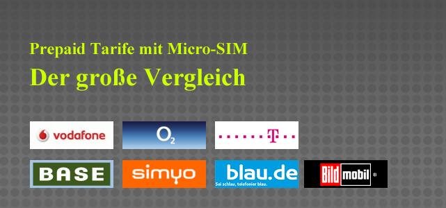 Nachdem nun die einzelnen vergleiche der prepaidtarife mit micro sim