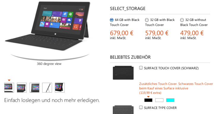 Microsoft Surface mit Windows RT ab 479 Euro