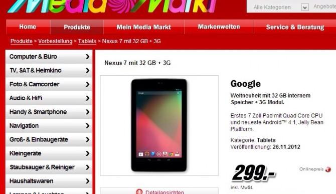 Nexus 7 3G 32Gb bei MediaMarkt kaufen