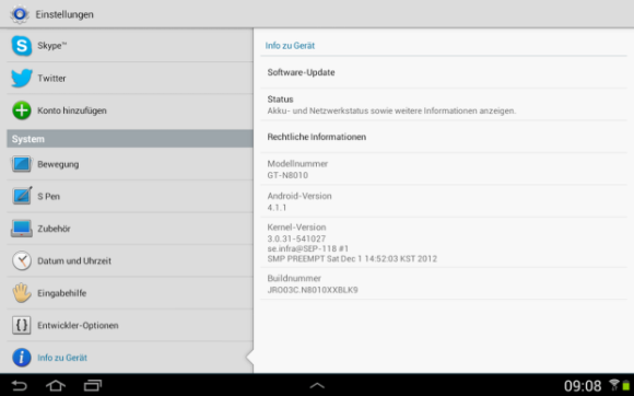 Samsung Galaxy Note 10.1 WiFi erhält Jelly Bean Update auf Android 4.1.1
