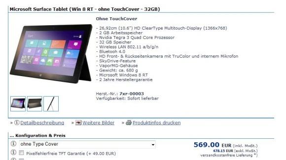 Microsoft Surface RT bei deutschem Online-Händler verfügbar