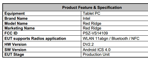 "Intels Android-Tablet ""Red Ridge"" bei FCC aufgetaucht"
