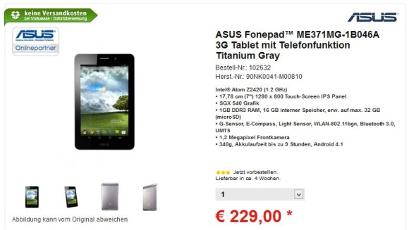 ASUS Comtech Fonepad