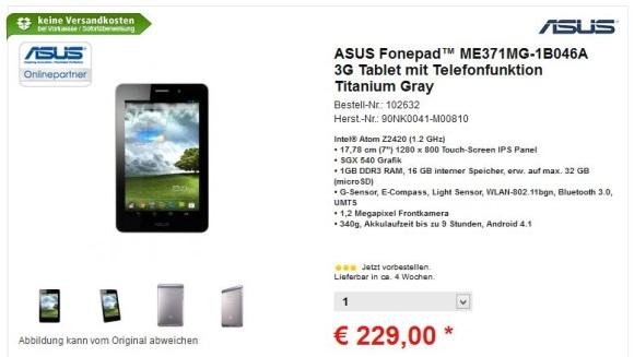 Asus Fonepad kann für 229€ vorbestellt werden – Auslieferung im April
