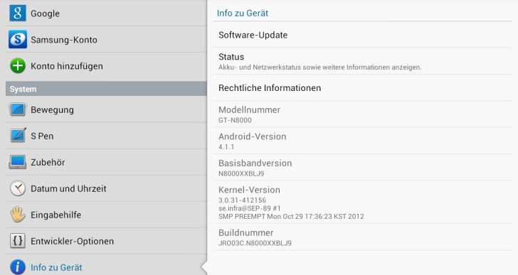 Galaxy Note 10.1 erhält Update auf Android 4.1 Jelly Bean