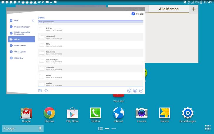 Samsung Galaxy Note Pro 12.2 S-Pen Fenster