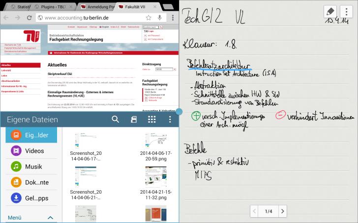 Samsung Galaxy Note Pro 12.2 Multi Window Screenshot